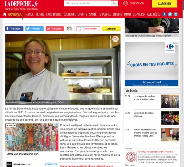 On parle de votre pâtisserie de Montastruc dans la journal Sud Ouest
