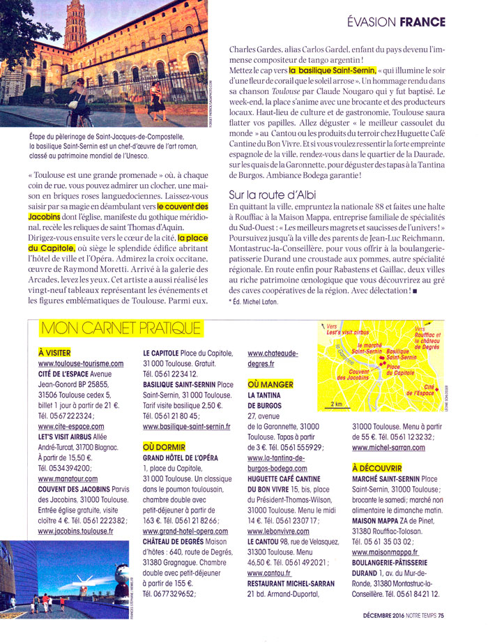 Dans le magazine Notre Temps Jean Luc Reichmann cite la pâtisserie Durand de Montastruc